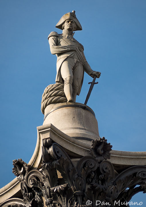 The statue of Lord Nelson stands high atop its column in Trafalgar Square.